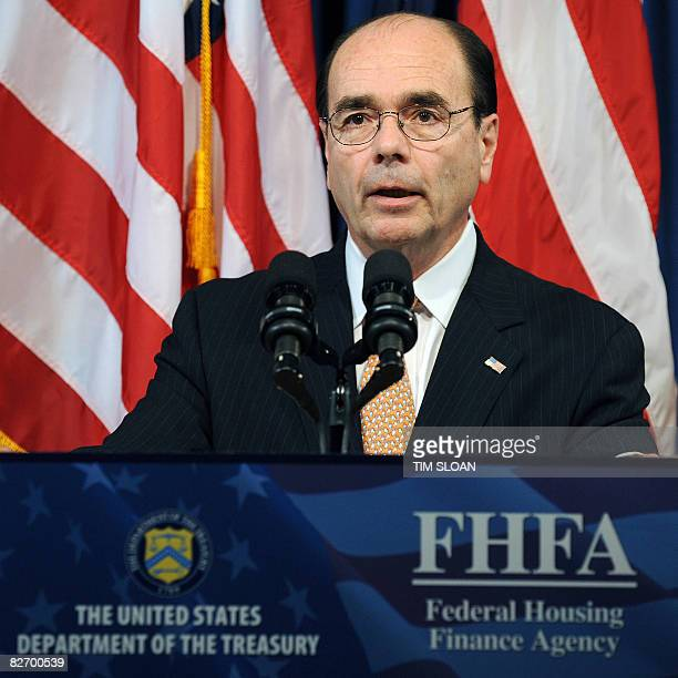 Federal Housing Finance Agency Director James Lockhart speaks during a press conference with US Treasury Secretary Henry Paulson on the bailout of...