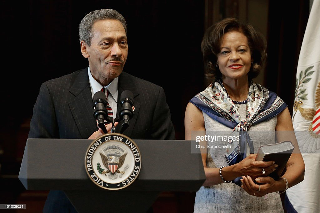 Federal Housing Finance Agency Director Mel Watt delivers remarks after being ceremonially sworn in with his wife Eulada Watt in the Eisenhower...