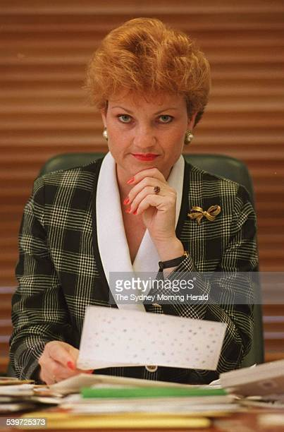 Federal Independent MP PAULINE HANSON opens letters of support for her views in her Parliament House office SMH NEWS PHOTO BY ANDREW MEARES