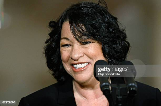 Federal Judge Sonia Sotomayor makes remarks after being named by US President Barack Obama as his choice to replace retiring Justice David Souter on...