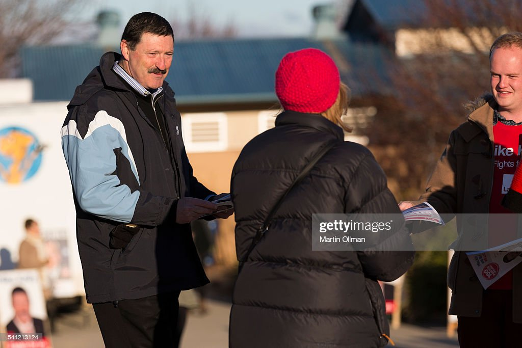 Federal Labor's candidate for Eden Monaro Mike Kelly talks to voters in the electorate of Eden-Monaro on July 2, 2016 in Canberra, Australia. Voters head to the polls today to elect the 45th parliament of Australia.