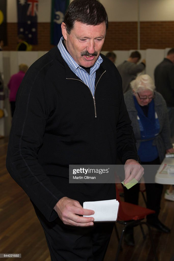 Federal Labor's candidate for Eden Monaro Mike Kelly votes in the electorate of Eden-Monaro on July 2, 2016 in Canberra, Australia. Voters head to the polls today to elect the 45th parliament of Australia.
