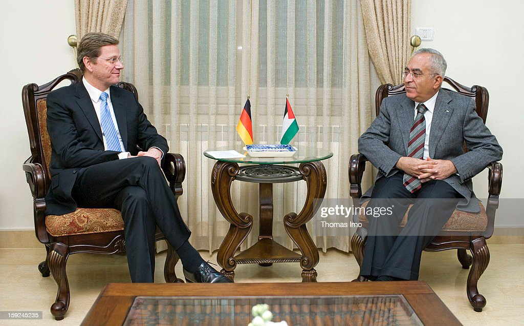 Federal Minister for Foreign Affairs of Germany and Vice-Chancellor and member of the Free Democratic Party Guido Westerwelle and Salam Fayyad, Prime Minister of the Palestinian National Authority, sitting together, November 24, 2009 in Ramallah, Palestinian Territories.