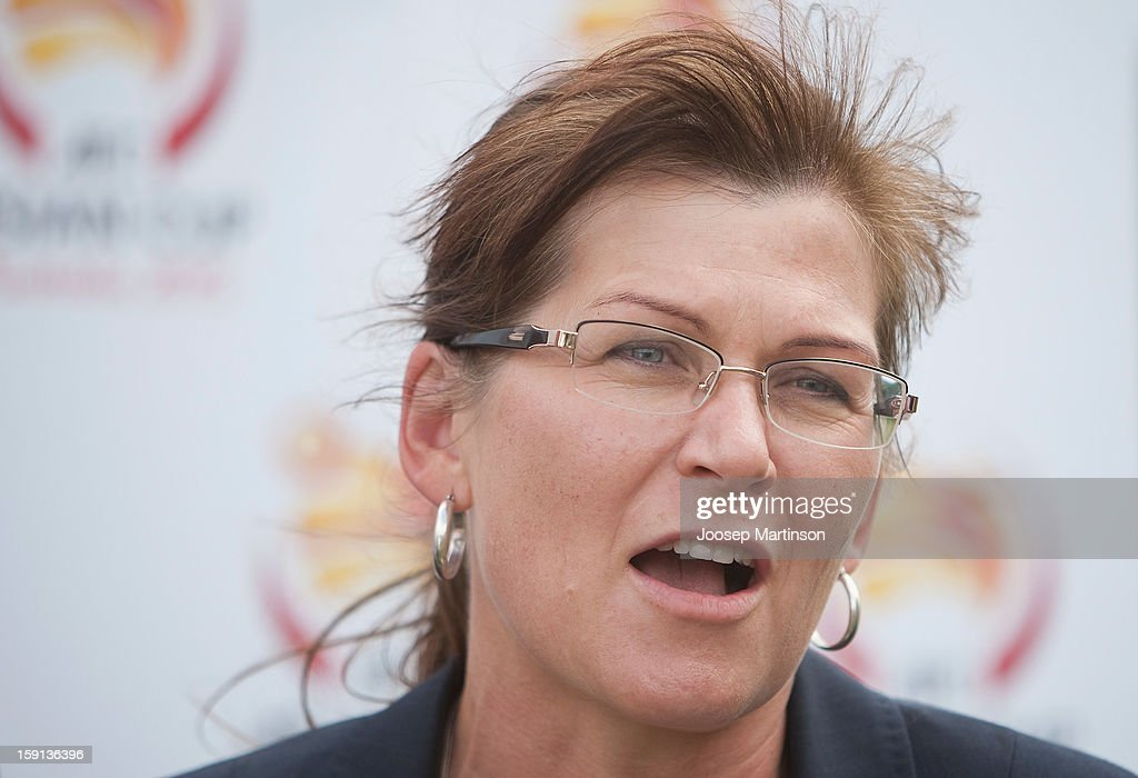 Federal Minister for Sport Kate Lundy talks to media during a press conference at Queen's Park on January 9, 2013 in Sydney, Australia. Today marks two years until the 2015 Asian Cup held in Australia.