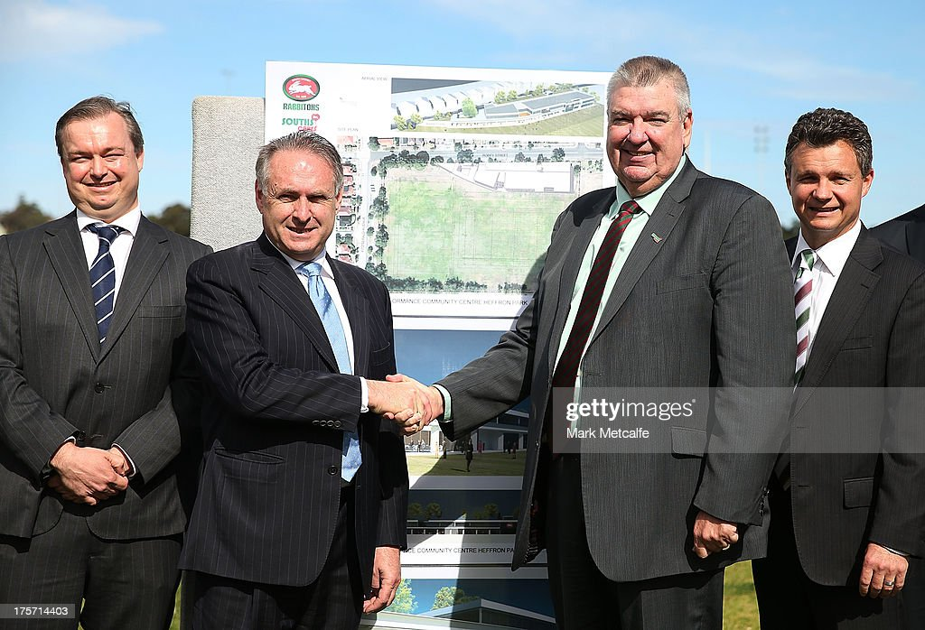 Federal Minister for Sport Senator Don Farrell shakes hands with South Sydney Rabbitohs CEO Shane Richardson during a South Sydney Rabbitohs NRL media announcement at Heffron Park on August 7, 2013 in Sydney, Australia.