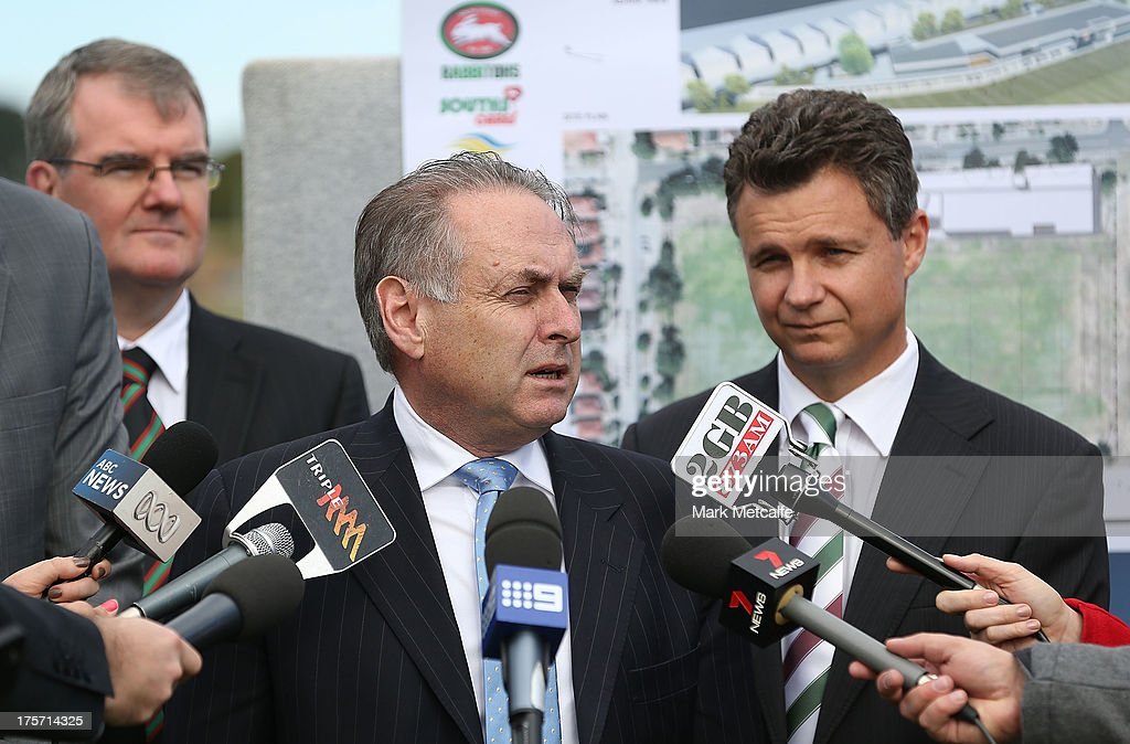 Federal Minister for Sport Senator Don Farrell speaks to the media during a South Sydney Rabbitohs NRL media announcement at Heffron Park on August 7, 2013 in Sydney, Australia.