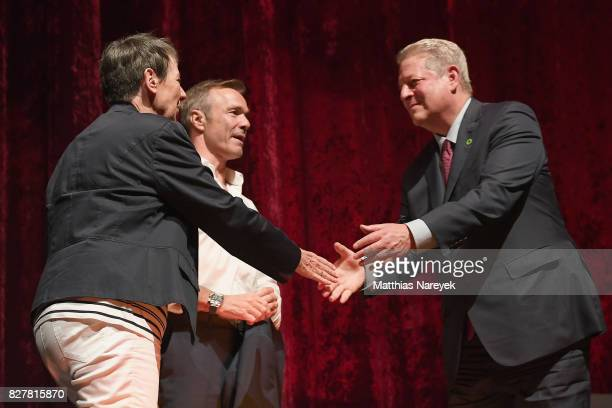 Federal Minister of the Environment Barbara Hendricks Hannes Jaenicke and Former Vice President Al Gore are seen on stage at a QA after a special...