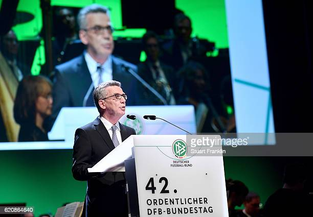 Federal Minister of the Interior Thomas de Maiziere holds a speech during the ceremonial act of the 42nd DFB Bundestag at Theater Erfurt on November...