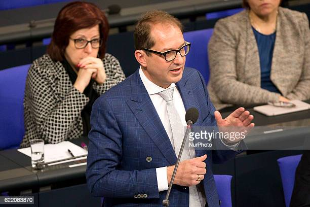Federal Minister of Transport and Digital Infrastructure Alexander Dobrindt is pictured during a government question time in the Bundestag in Berlin...