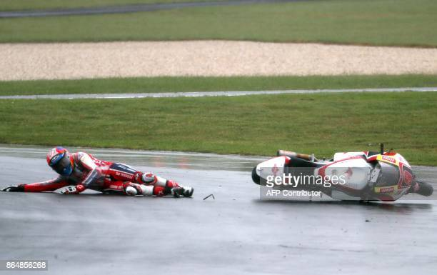 Federal Oil Gresini Kalex rider Jorge Navarro of Spain crashes during the warm session of the Moto2class Grand Prix of the Australian MotoGP Grand...