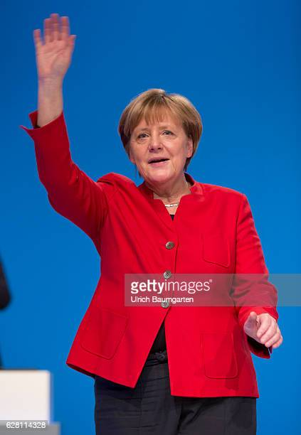 Federal party conference of the CDU in Essen Federal Chancellor Angela Merkel waving after her speech