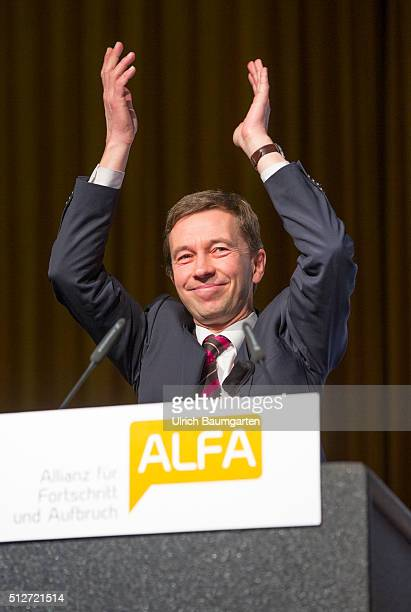 Federal Party Conference of the party Allianz für Fortschritt und Aufbruch Prof Dr Bernd Lucke Federal Chairman of ALFA waving after his speech