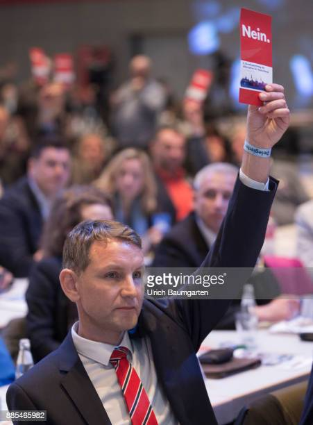 Federal Party Congress of Alternative for Germany Bjoern Hoecke and a red voting card with the word NO