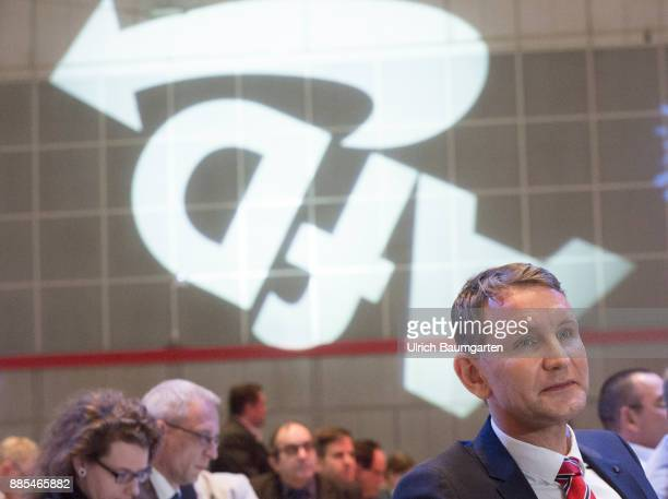 Federal Party Congress of Alternative for Germany Bjoern Hoecke and the AfD logo