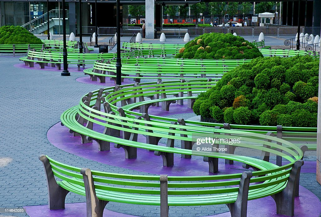 Federal  plaza benches : Stock Photo