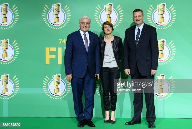 Federal president FrankWalter Steinmeier his wife Elke Buedenbender and DFB president Reinhard Grindel arrive for the DFB Cup Final 2017 between...