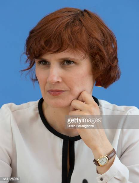 Federal Press Conference in Berlin Katja Kipping party chairwoman of the Left Party