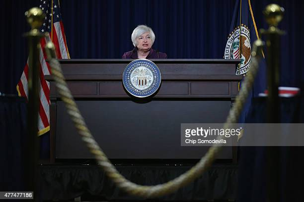 Federal Reserve Bank Chair Janet Yellen holds a news conference following a meeting of the Federal Open Market Committee at the Fed June 17 2015 in...