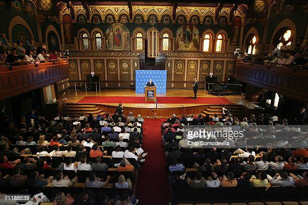 Federal Reserve Bank Chairman Ben Bernake speaks to graduates of the American Banking Association in Gaston Hall on the campus of Georgetown...