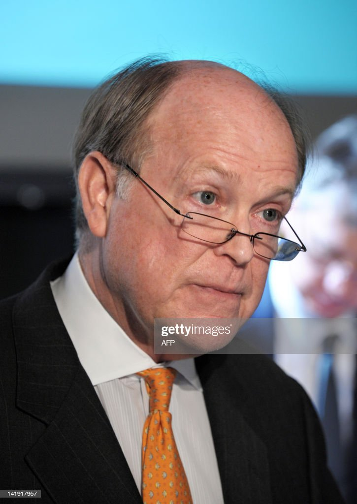Federal Reserve Bank of Philadelhia President and CEO Charles Plosser talks during a session about 'monetary policy issues' as part of a conference organized by Banque de France and The Gobal Interdependence Center at the Banque de France headquarters in Paris on March 26, 2012.