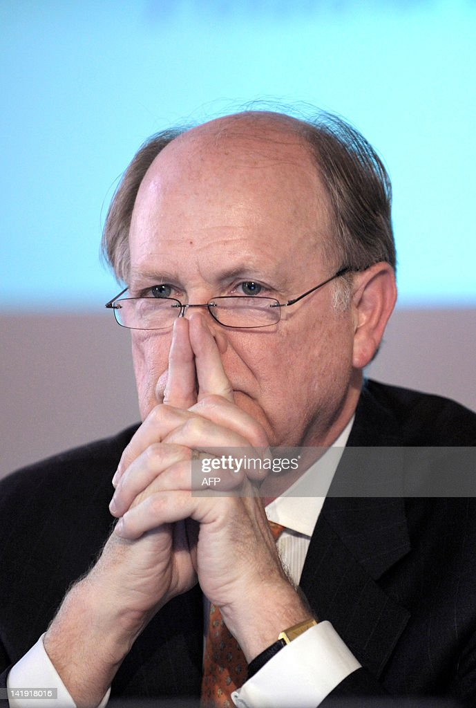 Federal Reserve Bank of Philadelhia President and CEO Charles Plosser listens during a session about 'monetary policy issues' as part of a conference organized by Banque de France and The Gobal Interdependence Center at the Banque de France headquarters in Paris on March 26, 2012.