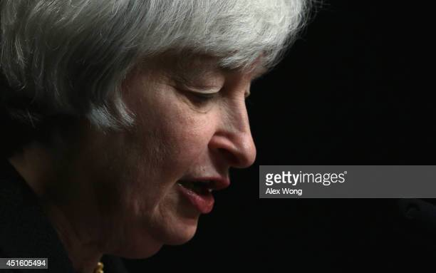 Federal Reserve Board Chair Janet Yellen participates in a discussion at the International Monetary Fund July 2 2014 in Washington DC Yellen...