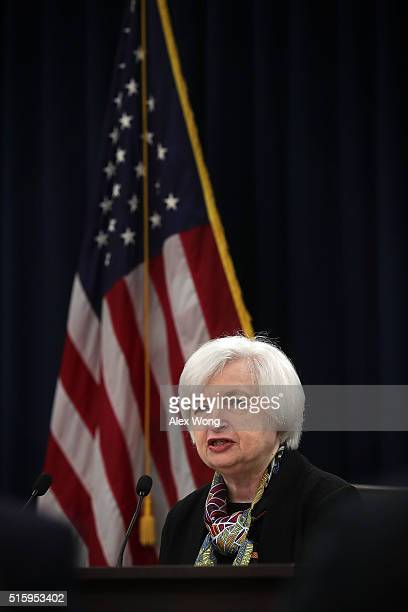 Federal Reserve Board Chair Janet Yellen speaks during a news conference March 16 2016 in Washington DC Yellen conducted a news conference and...