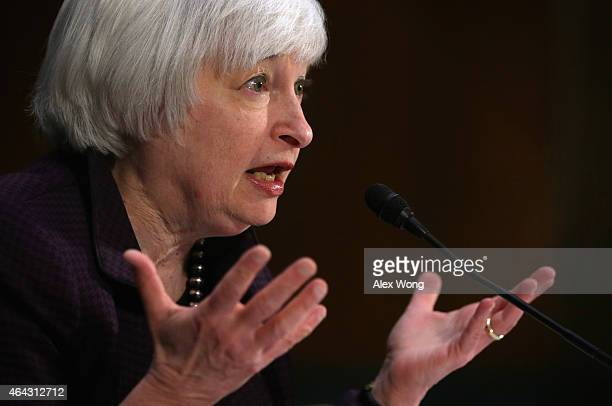 Federal Reserve Board Chair Janet Yellen testifies during a hearing before the Senate Banking Housing and Urban Affairs Committee February 24 2015 on...