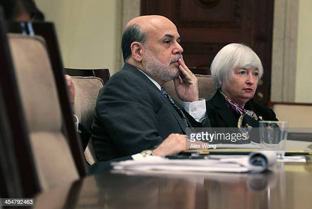 Federal Reserve Board Chairman Ben Bernanke and Janet Yellen Vice Chair and President Obama's nominee fto succeed Bernanke listen during a meeting of...
