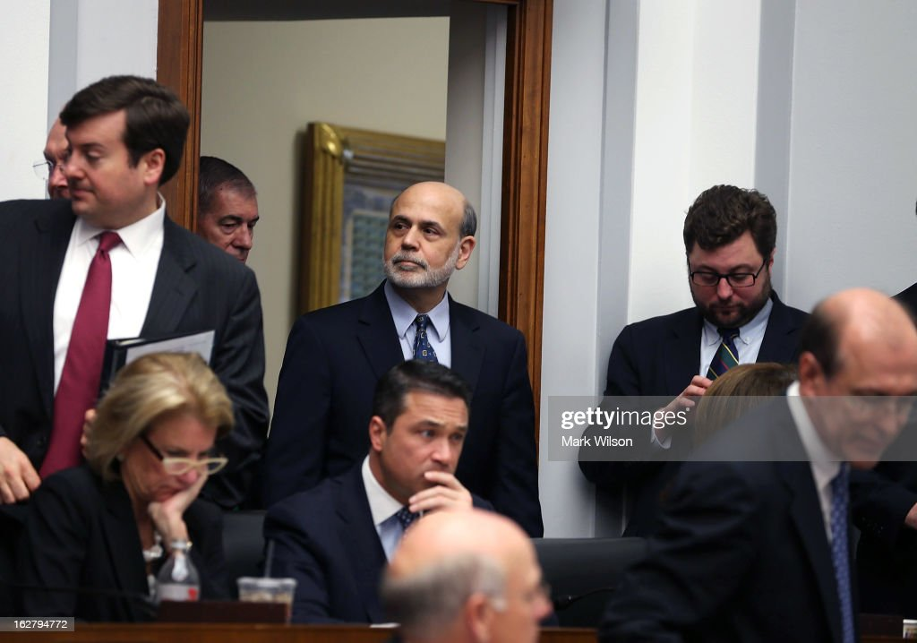 Federal Reserve Board Chairman <a gi-track='captionPersonalityLinkClicked' href=/galleries/search?phrase=Ben+Bernanke&family=editorial&specificpeople=568098 ng-click='$event.stopPropagation()'>Ben Bernanke</a> arrives at a House Financial Services Committee hearing on Capitol Hill, February 27, 2013 in Washington, DC. The committee is hearing testimony from Chairman Bernanke on the state if the U.S. economy and monetary policy.