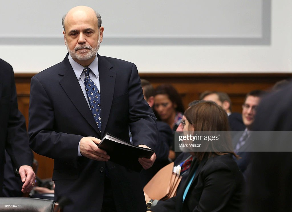 Federal Reserve Board Chairman <a gi-track='captionPersonalityLinkClicked' href=/galleries/search?phrase=Ben+Bernanke&family=editorial&specificpeople=568098 ng-click='$event.stopPropagation()'>Ben Bernanke</a>, arrives at a House Financial Services Committee hearing on Capitol Hill, February 27, 2013 in Washington, DC. The committee is hearing testimony from Chairman Bernanke on the state if the U.S. economy and monetary policy.