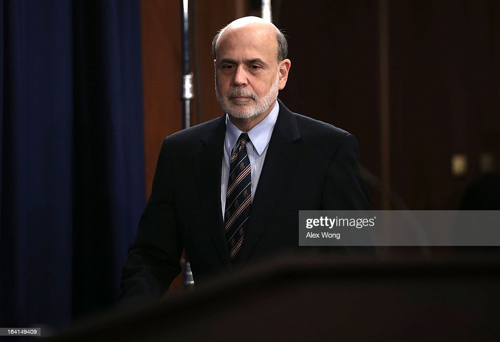 Federal Reserve Board Chairman <a gi-track='captionPersonalityLinkClicked' href=/galleries/search?phrase=Ben+Bernanke&family=editorial&specificpeople=568098 ng-click='$event.stopPropagation()'>Ben Bernanke</a> arrives at a news conference at the Federal Reserve headquarters March 20, 2013 in Washington, DC. Bernanke held a news conference to discuss the U.S. economy and interest rates.