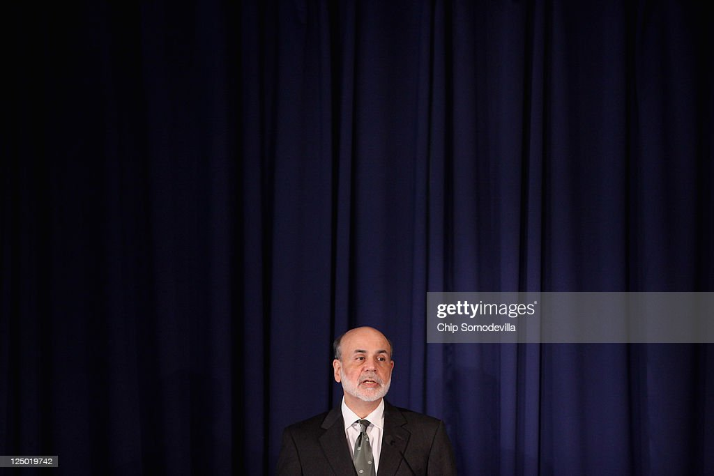 Federal Reserve Board Chairman <a gi-track='captionPersonalityLinkClicked' href=/galleries/search?phrase=Ben+Bernanke&family=editorial&specificpeople=568098 ng-click='$event.stopPropagation()'>Ben Bernanke</a> delivers remarks at the Federal Reserve on September 15, 2011 in Washington, DC. Bernanke made brief opening remarks for a conference on 'Regulation of Systemic Risk'.