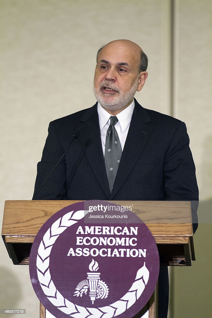 Federal Reserve Board Chairman Ben Bernanke gives a speech on the changing Federal Reserve's past, present and future on January 3, 2014 at the American Economic Association Meeting in Philadelphia, Pennsylvania. Dr. Bernanke's second term as Chairman ends January 31, 2014.