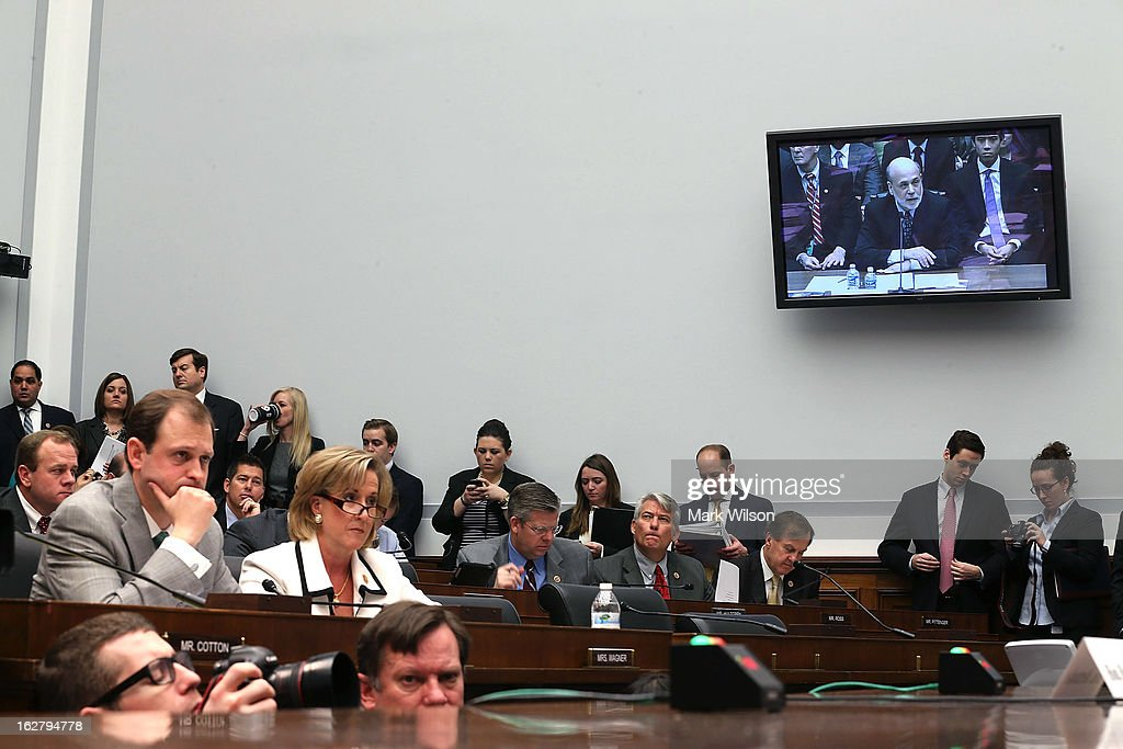 Federal Reserve Board Chairman Ben Bernanke is shown on a monitor as he testifies during a House Financial Services Committee hearing on Capitol Hill, February 27, 2013 in Washington, DC. The committee is hearing testimony from Chairman Bernanke on the state if the U.S. economy and monetary policy.