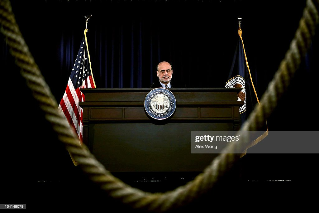 Federal Reserve Board Chairman Ben Bernanke pauses during a news conference at the Federal Reserve headquarters March 20, 2013 in Washington, DC. Bernanke held a news conference to discuss the U.S. economy and interest rates.