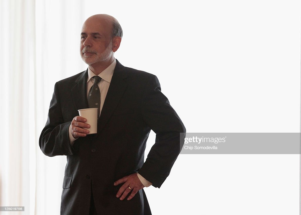Federal Reserve Board Chairman <a gi-track='captionPersonalityLinkClicked' href=/galleries/search?phrase=Ben+Bernanke&family=editorial&specificpeople=568098 ng-click='$event.stopPropagation()'>Ben Bernanke</a> prepares to deliver remarks at the Federal Reserve on September 15, 2011 in Washington, DC. Bernanke made brief opening remarks for a conference on 'Regulation of Systemic Risk'.