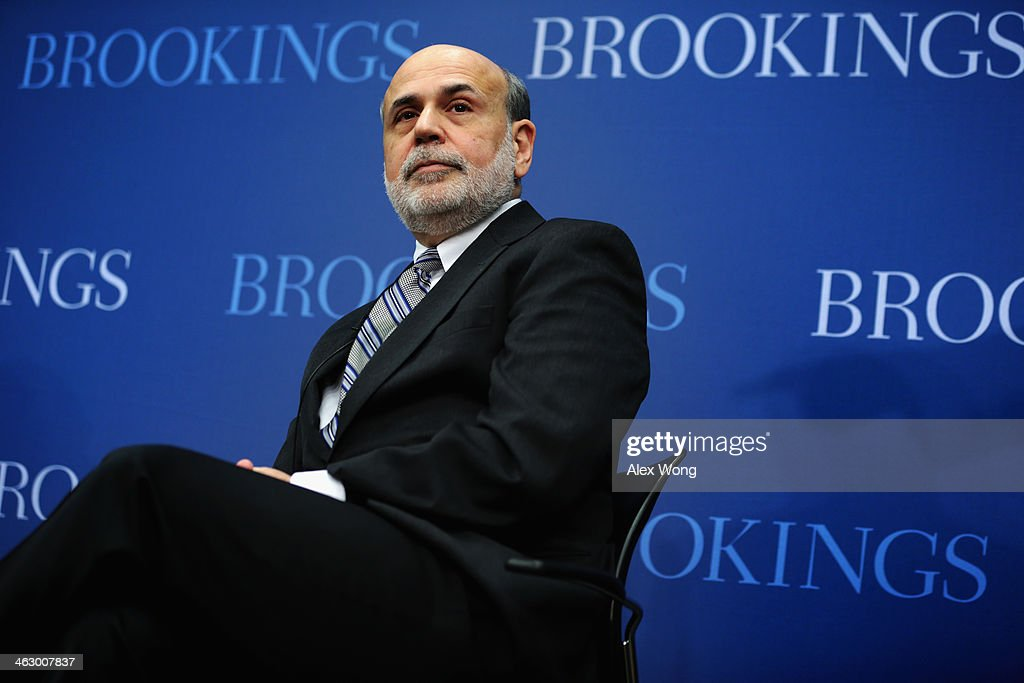 Federal Reserve Board Chairman <a gi-track='captionPersonalityLinkClicked' href=/galleries/search?phrase=Ben+Bernanke&family=editorial&specificpeople=568098 ng-click='$event.stopPropagation()'>Ben Bernanke</a> sits during a session at the Brookings Institution January 16, 2014 in Washington, DC. Bernanke spoke on 'Central Banking after the Great Recession: Lessons Learned and Challenges Ahead.'