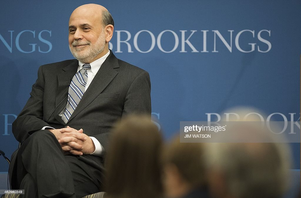 Federal Reserve Board Chairman Ben Bernanke speaks at the Brookings Institute in Washington, DC, January 16, 2014. Bernanke's eight-year term at the Fed is set to end on January 31. AFP PHOTO / Jim WATSON