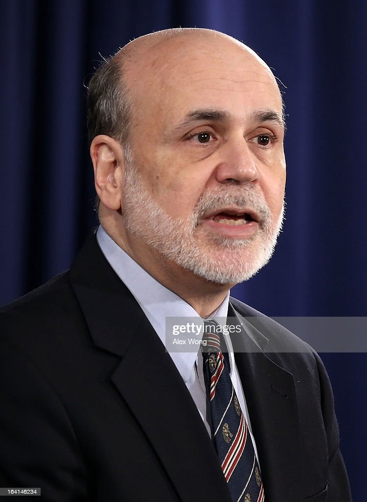 Federal Reserve Board Chairman <a gi-track='captionPersonalityLinkClicked' href=/galleries/search?phrase=Ben+Bernanke&family=editorial&specificpeople=568098 ng-click='$event.stopPropagation()'>Ben Bernanke</a> speaks during a news conference at the Federal Reserve headquarters March 20, 2013 in Washington, DC. Bernanke held a news conference to discuss the U.S. economy and interest rates.