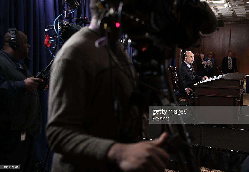 Federal Reserve Board Chairman Ben Bernanke speaks during a news conference at the Federal Reserve headquarters March 20, 2013 in Washington, DC. Bernanke held a news conference to discuss the U.S. economy and interest rates.