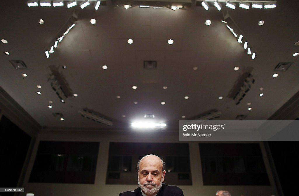 Federal Reserve Board Chairman <a gi-track='captionPersonalityLinkClicked' href=/galleries/search?phrase=Ben+Bernanke&family=editorial&specificpeople=568098 ng-click='$event.stopPropagation()'>Ben Bernanke</a> testifies before the Joint Economic Committee on Capitol Hill June 7, 2012 in Washington, DC. Stock prices and job growth have both fallen since the last economic forecast by the Federal Reserve was released in April and Bernanke will give his opinion of the U.S. economy during his testimony.