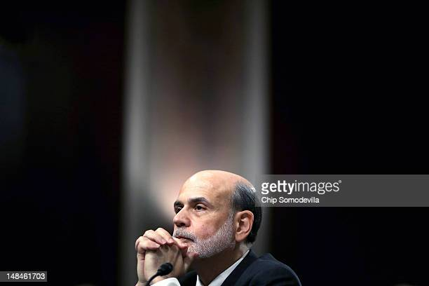 Federal Reserve Board Chairman Ben Bernanke testifies before the Senate Banking Housing and Urban Affairs Committee on Capitol Hill July 17 2012 in...