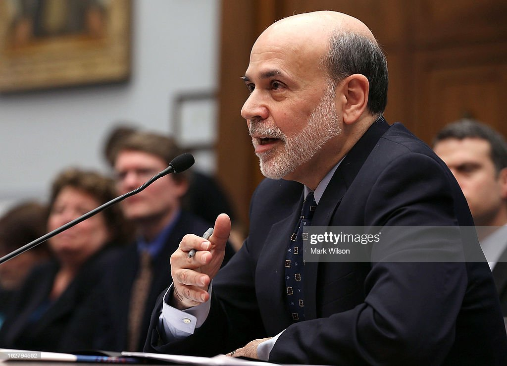Federal Reserve Board Chairman Ben Bernanke testifies during a House Financial Services Committee hearing on Capitol Hill February 27, 2013 in Washington, DC. The committee is hearing testimony from Chairman Bernanke on the state if the U.S. economy and monetary policy.