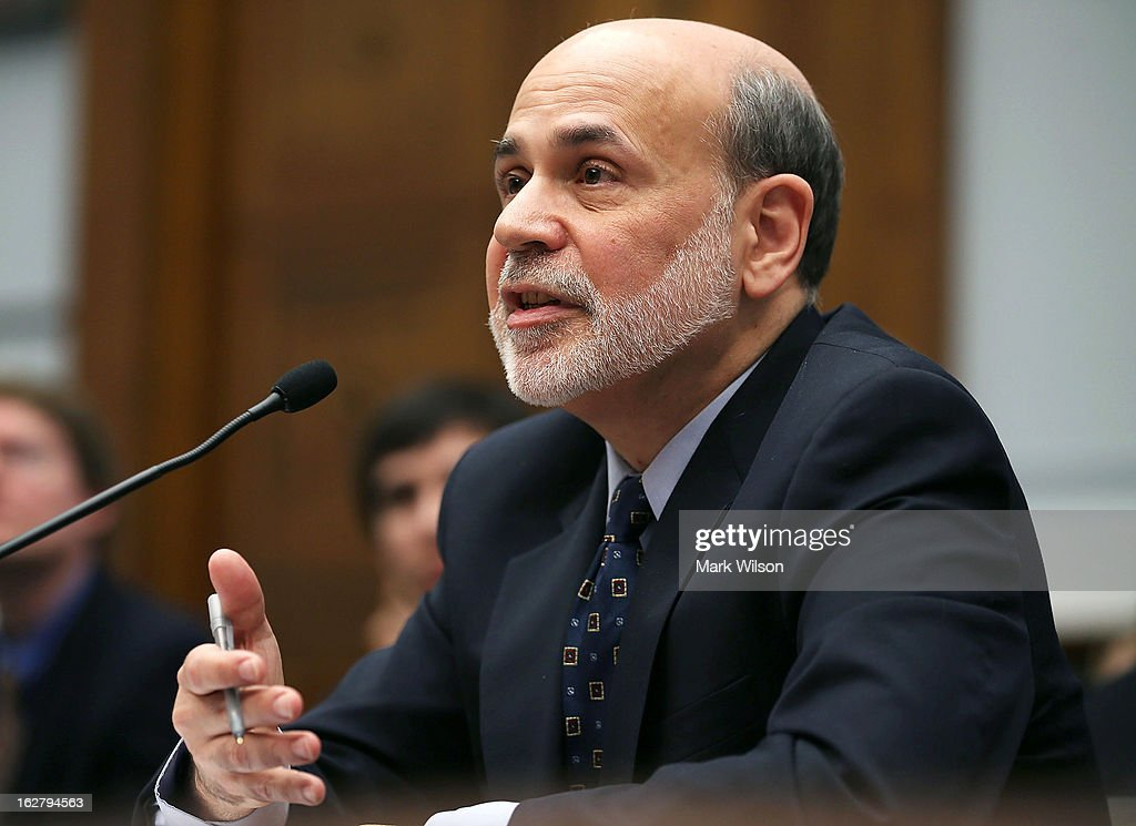 Federal Reserve Board Chairman <a gi-track='captionPersonalityLinkClicked' href=/galleries/search?phrase=Ben+Bernanke&family=editorial&specificpeople=568098 ng-click='$event.stopPropagation()'>Ben Bernanke</a> testifies during a House Financial Services Committee hearing on Capitol Hill February 27, 2013 in Washington, DC. The committee is hearing testimony from Chairman Bernanke on the state if the U.S. economy and monetary policy.