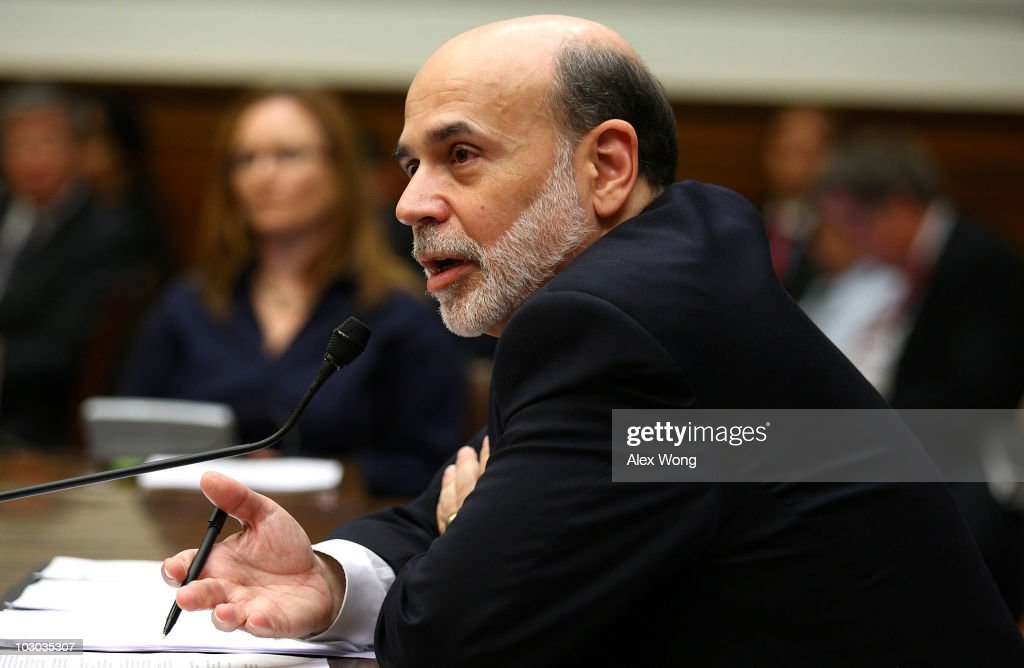 Federal Reserve Board Chairman <a gi-track='captionPersonalityLinkClicked' href=/galleries/search?phrase=Ben+Bernanke&family=editorial&specificpeople=568098 ng-click='$event.stopPropagation()'>Ben Bernanke</a> testifies during a hearing before the House Financial Services Committee July 22, 2010 on Capitol Hill in Washington, DC. Bernanke testified on the 'Monetary Policy and the State of the Economy.'
