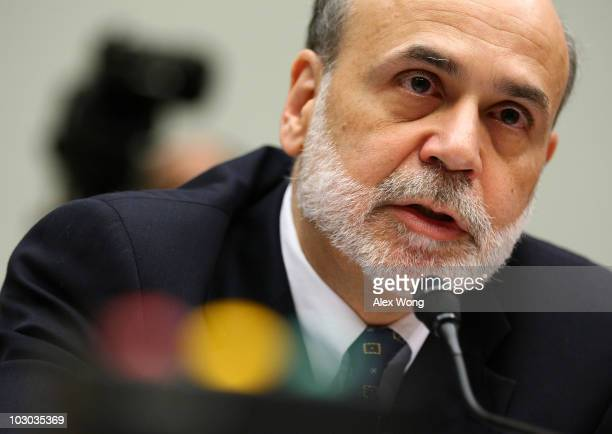 Federal Reserve Board Chairman Ben Bernanke testifies during a hearing before the House Financial Services Committee July 22 2010 on Capitol Hill in...