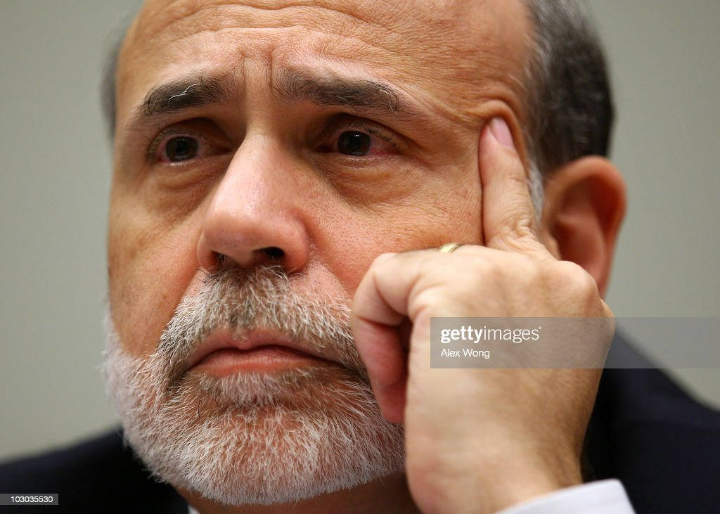 Federal Reserve Board Chairman Ben Bernanke testifies during a hearing before the House Financial Services Committee July 22, 2010 on Capitol Hill in Washington, DC. Bernanke testified on the 'Monetary Policy and the State of the Economy' and advised Congress on the continuation of goverment stimulus spending for economic recovery.