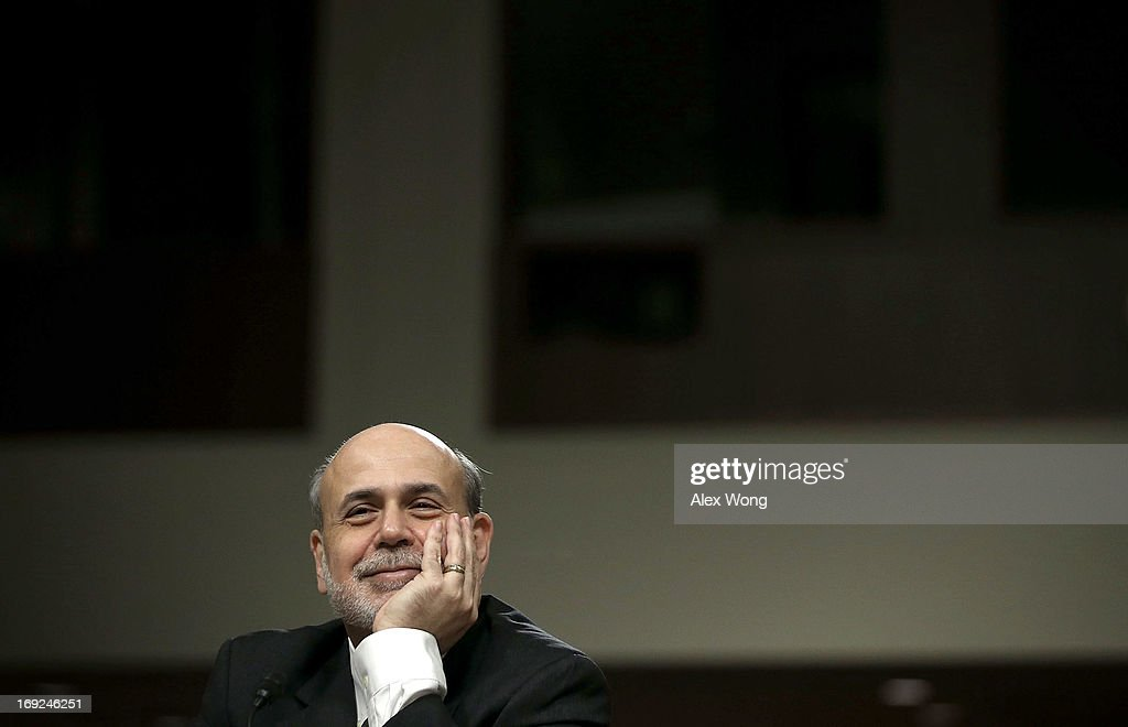 Federal Reserve Board Chairman <a gi-track='captionPersonalityLinkClicked' href=/galleries/search?phrase=Ben+Bernanke&family=editorial&specificpeople=568098 ng-click='$event.stopPropagation()'>Ben Bernanke</a> testifies during a hearing before the Joint Economic Committee May 22, 2013 on Capitol Hill in Washington, DC. Bernanke was on the Hill to give his views on the current economic outlook.