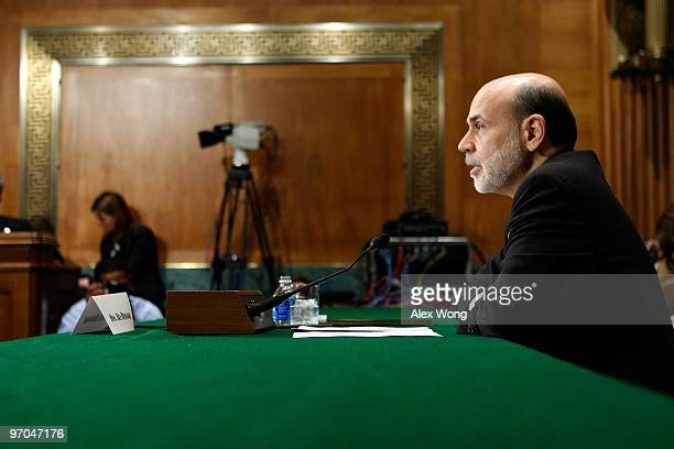 Federal Reserve Board Chairman Ben Bernanke testifies during a hearing before the House Banking Committee February 25 2010 on Capitol Hill in...